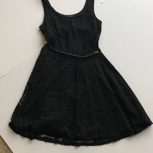 Guess Black Lace Dress With Belt